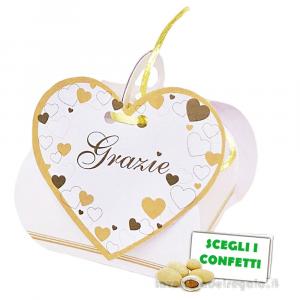 Portaconfetti cestino con Cuori e scritta 8x5x5 cm - Scatole matrimonio