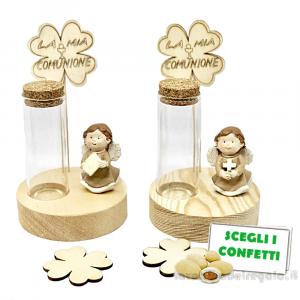 Provetta portaconfetti con Angelo in resina su base legno 14 cm - Bomboniera comunione