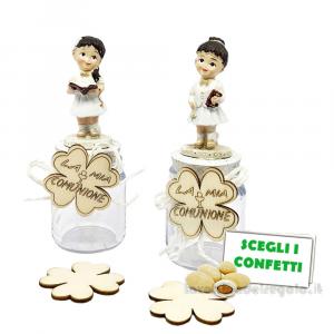 Barattolino portaconfetti con Bambina in resina 13 cm - Bomboniera comunione bimba