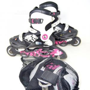Inline Skates Orxelo Black White Fuchsia N° 34-36 + Knee Pads