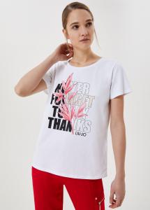 LIU JO TA1211J5972 T-shirt con stampa e applicazioni