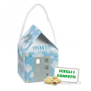 Portaconfetti casetta Dumbo celeste con cordoncino 5.5x5.5x5 cm - Scatole battesimo bimbo