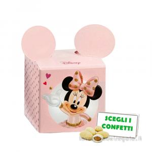 Portaconfetti Minnie Ballerina Rosa con orecchie 5x5x5 cm - Scatole battesimo bimba