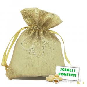 Portaconfetti Oro 50° Anniversario 9x12 cm - Sacchetti nozze d'oro