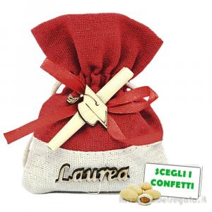 Portaconfetti con scritta, tocco e pergamena 9x12 cm - Sacchetti laurea