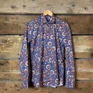 Camicia Gianni Lupo con Colletto Blu con Fantasia Floreale