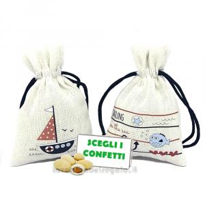 Portaconfetti bianco in Stile Marino 9x12 cm - Sacchetti bomboniere matrimonio