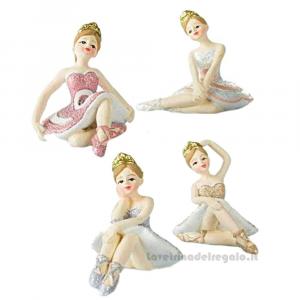 Ballerina danza classica seduta in resina 5 cm - Bomboniere comunione bimba