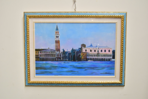 Painting Oil - Canvas With Frame Gold Light Blue