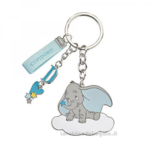 Portachiavi Dumbo celeste Disney in metallo smaltato 5x4.5 cm - Bomboniere battesimo bimbo