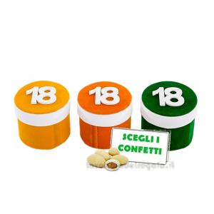 Barattolino portaconfetti con 18 in velluto 5x6 cm - Contenitori compleanno 18 anni