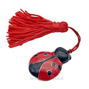 Ciondolo Coccinella con nappina rossa 3.5x2.5 cm - Decorazioni laurea