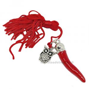 Ciondolo Cornetto Rosso con Gufo e nappina in Zama 4 cm - Decorazioni laurea