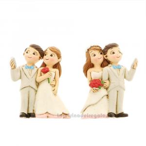 Magnete Sposi Selfie in resina 6 cm - Bomboniera matrimonio