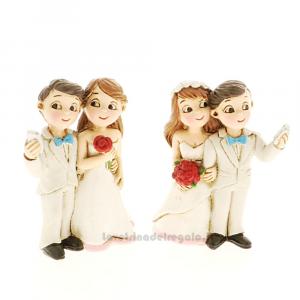 Statuina Sposi Selfie in resina 6 cm - Bomboniera matrimonio