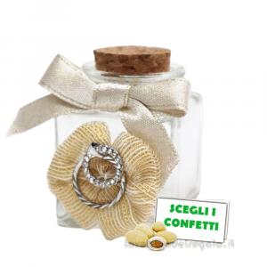 Barattolino portaconfetti con fedi e coccarda Oro 4x4x6 cm - Contenitori nozze d'oro