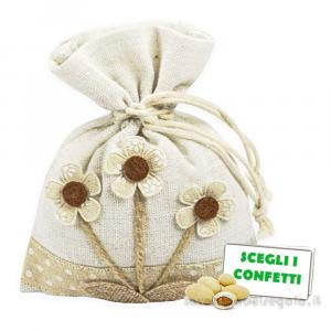 Portaconfetti con fiori Beige 10x13 cm - Sacchetti comunione