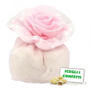 Portaconfetti Rosa con una rosa 9 cm - Sacchetti battesimo bimba
