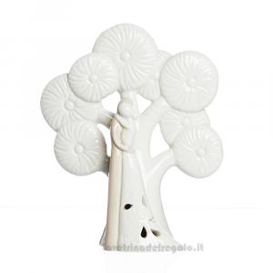 Coppia Sposi con albero della vita e luce LED in porcellana 10x14 cm - Bomboniera matrimonio