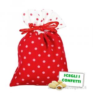 Portaconfetti piatto Rosso a pois 10x14 cm - Sacchetti laurea