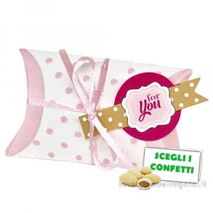 Bustina portaconfetti Rosa con targhetta For You 9x2.5x5.5 cm - Scatole battesimo bimba