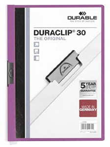 Cartellina Duraclip Durable - 3mm - Capacit 30 Sheets - Lilac - 2200-12 25 Pieces