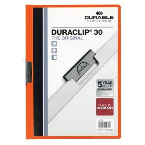 Cartellina Duraclip Durable - 3mm - Capacit 30 fogli - Arancione - 2200-09 25 Pezzi
