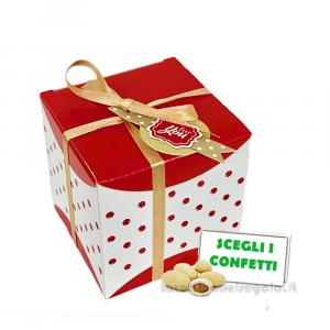 Portaconfetti quadrato a pois con targhetta 8x8x8 cm - Scatole bomboniera laurea
