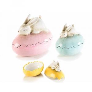 Set 3 contenitori uovo ceramica con coniglietto addormentato