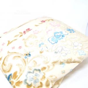 Copriletto Matrimoniale Damascato A Fiori Blu Rosa Beige 270x270 Cm
