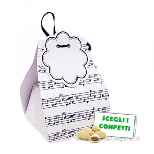 Portaconfetti Spartito Musicale con bollino 6x5x8 cm - Scatole bomboniere