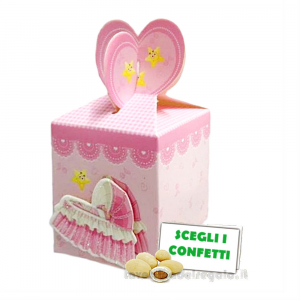 Portaconfetti Rosa con culla in 3D 6x6x7 cm - Scatole battesimo bimba