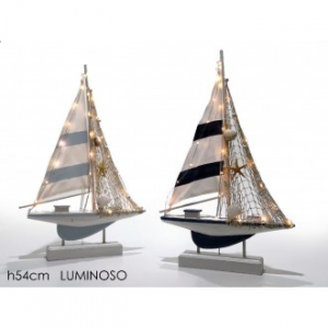 Barca A Vela Con Luce Su Stand 42Cm