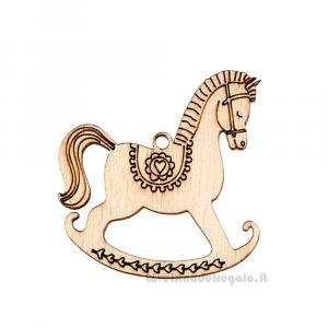 Ciondolo cavallo a dondolo in legno 4.5 cm - Decorazioni battesimo