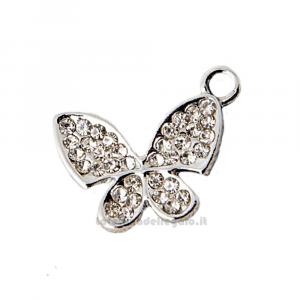 Ciondolo farfalla con strass in metallo 2x2 cm - Decorazioni bomboniere