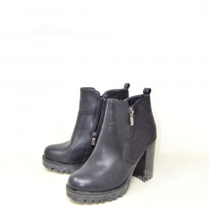Ankle Boots Woman Black Glitter With Heel N°.36 S