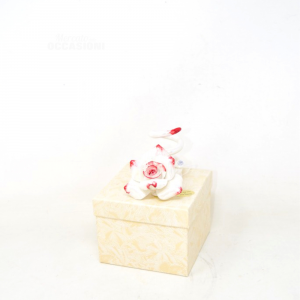 Pink In Ceramic Capdimonte Candle Holder White - Red