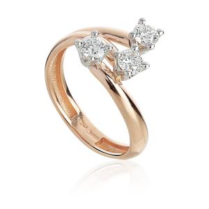 Anello trilogy Artlinea Coll. contrarie in oro 18kt e diamanti AD849/DB