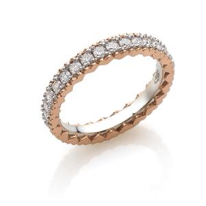 Anello eternity in oro 18 kt con cuori laterali, con diamanti bianchi ADF222DB15-LB