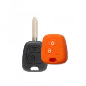 Cover Guscio Colorato Materiale Silicone Morbido Per Scocca Chiave 2 Tasti Auto Toyota Aygo In 10 Fantastici Colori (Arancio)