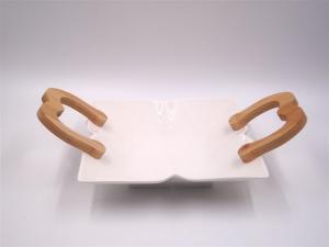 Vassoio Quadro In Ceramica Con Manici In legno. Misura 20Cm