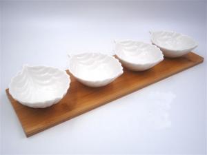 Vetrochina Coppetta In Ceramica Con Base In Legno P19645