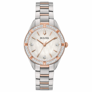 Bulova Sutton Lady Orologio, lunetta con diamanti, quadrante madreperla
