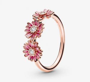 Anello tris di Margherite rosa