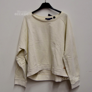 Sweatshirt Woman Gant Sizexl White With Back Lace 100% Cotton