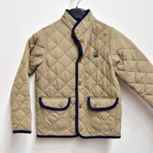 Jacket Quilted Light Boy Benetton Size M 7 / 8 Years Beige Blue