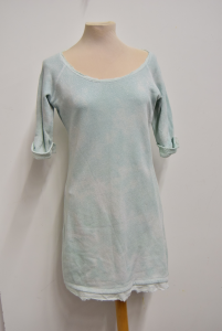 Dress Woman Motives Green Water Metallized In Sweatshirt Cotton Size 42