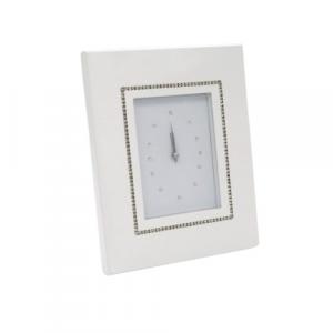 Orologio tavolo legno bianco brillanti