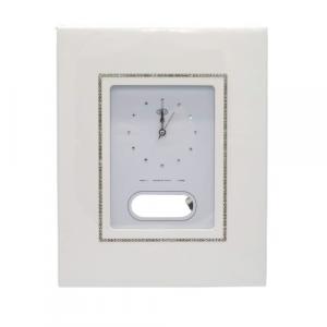 Orologio parete a pendolo legno bianco e brillantini