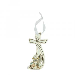 Appendino Croce stilizzata resina Prima Comunione